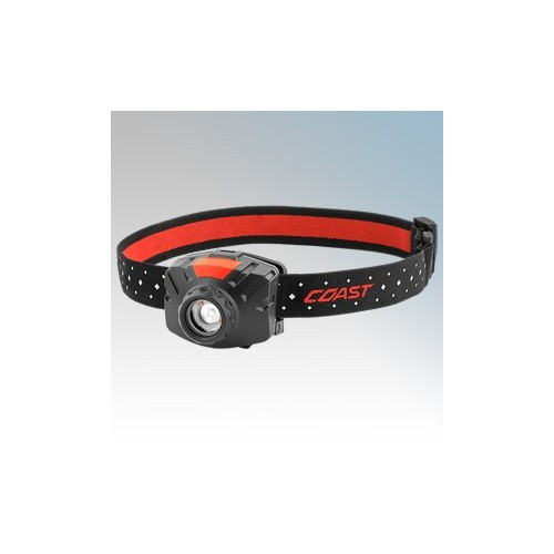 Coast Torches FL60 Black LED Head Torch With Wide Beam Angle, Adjustable Output, Comfort Strap & Batteries IPX4 400Lm - 55Lm