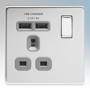 BG Electrical FPC21UG Nexus Polished Chrome Screwless Flat Plate 1 Gang DP Switchsocket With 2 x USB Ports 2.1A & Outboard Rocker 13A