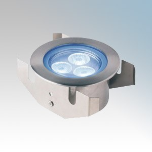 Collingwood Lighting GL040 Stainless Steel LED Flood Groundlight With Clear Glass & Blue LEDs IP68 3 x 1W 350mA