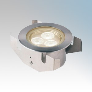 Collingwood Lighting GL040 Stainless Steel LED Flood Groundlight With Clear Glass & Warm White LEDs IP68 3 x 1W 350mA