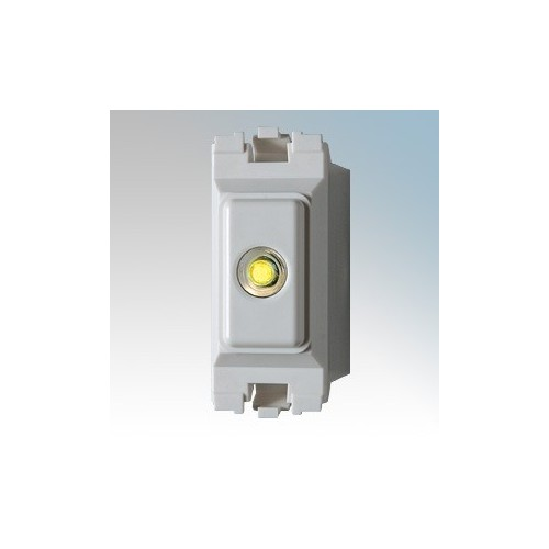 Danlers White 1 Module 3 Wire Grid Time Lag Switch With Illuminated Pushbutton & 1 Minute To 120 Minute Adjustable Time Lag Range For MK Grid Plus Grid System 6A 240V