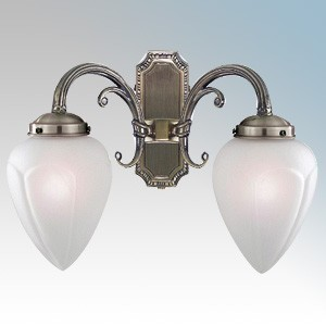 Searchlight 1992-2AB Regency Antique Brass Twin Wall Light With Acid Glass Shades - Requires Lamps 2 x 40W SES 240V L:290mm x W:360mm x Proj:180mm