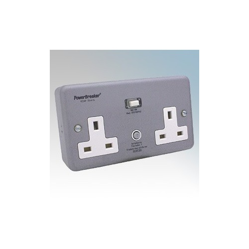 Powerbreaker H22MPAPN-C Metalclad 2 Gang Latching (Passive) RCD Socket With Surface Mounting Box 13A 30mA