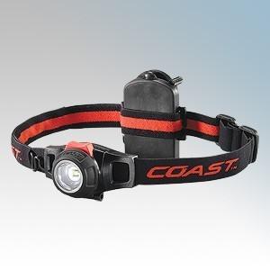 Coast Torches HL7 Black LED Head Torch With Pure Beam Optics, Adjustable LED Output, Lightweight / Adjustable Elastic Headband & Batteries IPX4 285Lm - 4Lm