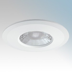 JCC Lighting JC1001/WH V50 Series White Fixed Colour Selectable Dimmable LED Fire Rated Downlight With Twist + Lock Bezel & LevLink Connector IP65 7.5W 600/650Lm 240V