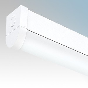 JCC Lighting JC71743 Skypack Quick Release White 5 Foot Single LED Batten Fitting With Press Release Diffuser & Cool White LEDs IP20 37W 4440 Lumens L:1500mm x H:70mm