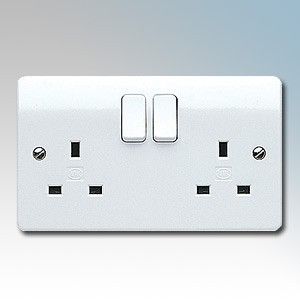 MK Electric K2747WHI-PACK (Pack of 5) Logic Plus White Moulded 2 Gang Double Pole Switchsocket 13A