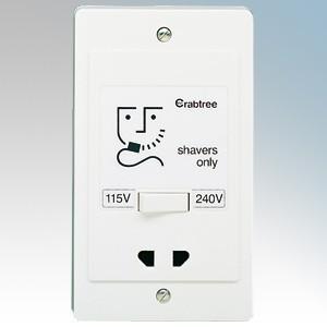 Crabtree 2400 Capital White Moulded Dual Voltage Shaver Socket 115V / 240V