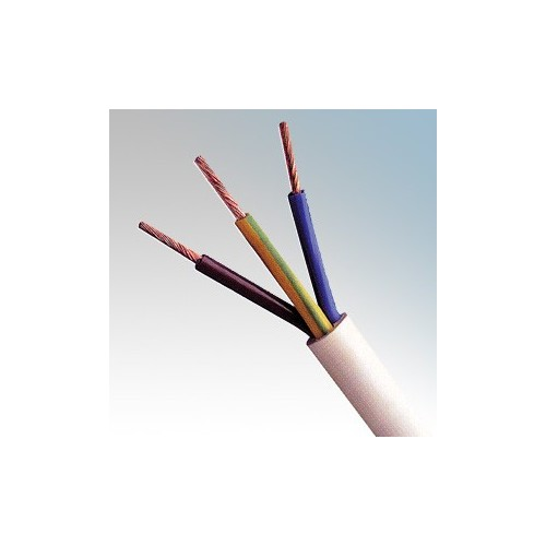3093Y1.5WH100 BASEC Approved 3093Y White 3 Core PVC Insulated & Sheathed Heat Resistant Flexible Circular Cable 1.5mm 100m Reel