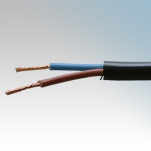 3182Y0.75BLK100 BASEC Approved 3182Y Black 2 Core PVC Insulated & Sheathed Circular Flexible Cable 0.75mm 100m Reel