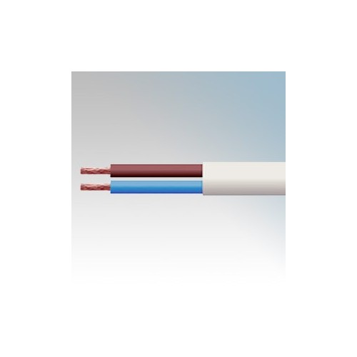 3182Y1.0WHI100 BASEC Approved 3182Y White 2 Core PVC Insulated & Sheathed Circular Flexible Cable 1.0mm 100m Reel