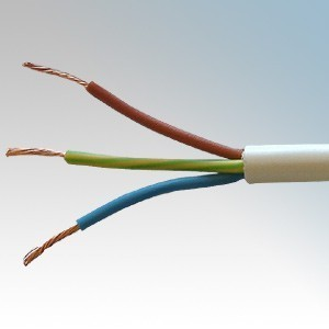 3183Y0.75WHI100 BASEC Approved 3183Y White 3 Core PVC Insulated & Sheathed Circular Flexible Cable 0.75mm 100m Reel