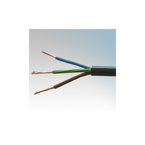 3183Y2.5BLK50 BASEC Approved 3183Y Black 3 Core PVC Insulated & Sheathed Circular Flexible Cable 2.5mm 50m Reel