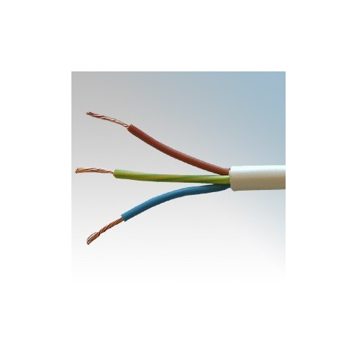 3183Y2.5WHI50 BASEC Approved 3183Y White 3 Core PVC Insulated & Sheathed Circular Flexible Cable 2.5mm 50m Reel