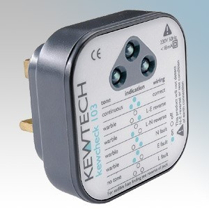 Kewtech KEWCHECK103 Mains Wiring Tester With High Definition LEDs & Clear Audible Tone