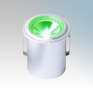 Collingwood Lighting LED LYTE IP Silver Plug-and-Play IP Rated Mini LED Downlight With Green LED IP65 1W 350mA