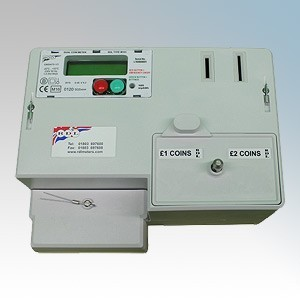 RDL M-101S White Single Phase Coin Operated £1 and £2 Credit Meter / Timer With LCD Readout