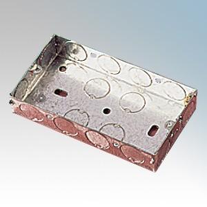 APPLEBY MB225 Steel 2 Gang Flush Mounting Box With 1 x Adjustable Lug & Knockouts 25mm