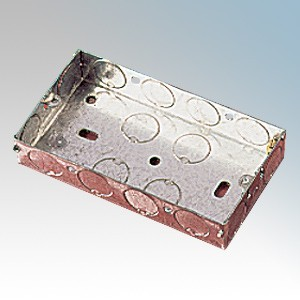 APPLEBY MB225 (pack of 20) Steel 2 Gang Flush Mounting Box With 1 x Adjustable Lug & Knockouts 25mm