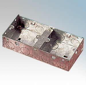 APPLEBY MB235D Steel 2x1 Gang Dual Flush Mounting Box With 8 x Fixed Lugs & Knockouts 35mm