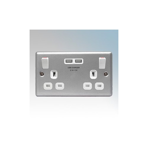 BG Electrical MC522U Crusader Metalclad 2 Gang Double Pole Switchsocket With 2 x USB Ports 2.1A & Outboard Rockers 13A