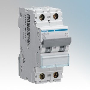 Hager 2 Module Double Pole Type B Miniature Circuit Breaker MCB 50A 10kA