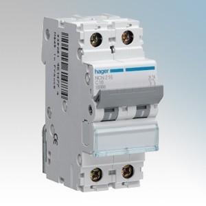Hager 2 Module Double Pole Type C Miniature Circuit Breaker MCB 6A 10kA