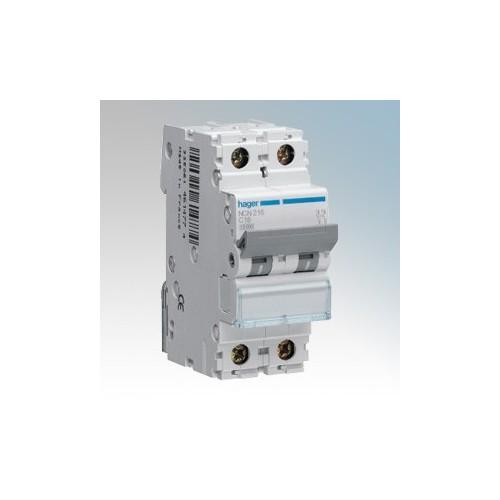 Hager 2 Module Double Pole Type C Miniature Circuit Breaker MCB 16A 10kA