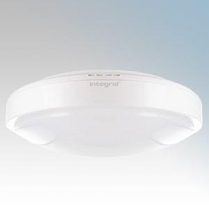 Integral LED 32-23-21 Tough Shell White Polycarbonate Bulkhead With Opal Diffuser & White LEDs IP44 18W 1350 Lumens 240V  Dia Ø: 300mm x Proj: 102mm