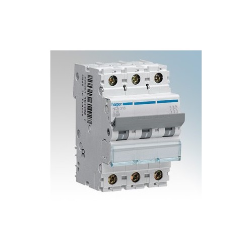 Hager 3 Module Triple Pole Type D Miniature Circuit Breaker MCB 20A 10kA
