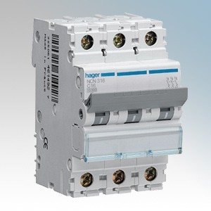 Hager 3 Module Triple Pole Type D Miniature Circuit Breaker MCB 25A 10kA
