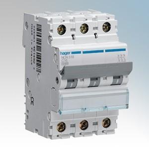 Hager 3 Module Triple Pole Type D Miniature Circuit Breaker MCB 50A 10kA