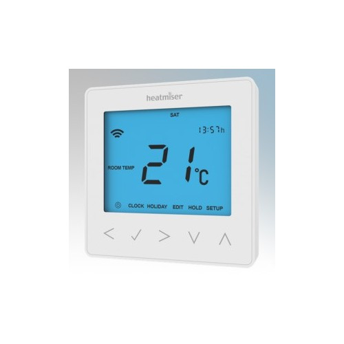 Heatmiser NEOSTAT Glacier White Self Learning Flush Mounting Programmable Thermostat