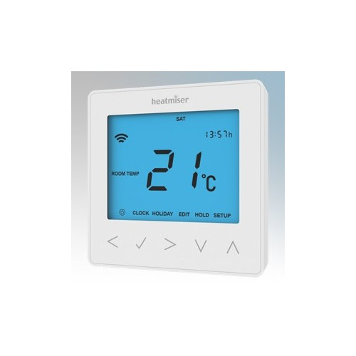 Heatmiser NEOSTAT-E Glacier White Self Learning Flush Mounting Electric Floor Heating Thermostat With 3m Remote Floor Sensor 16A