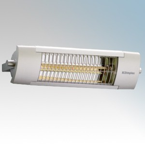 Dimplex OPH Range Aluminium Outdoor Quartz Infra-Red Patio Heater With Fitted Guard IP24 1.3kW H:159mm x W:594mm x D:144mm