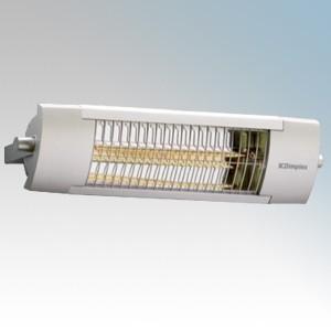 Dimplex OPH Range Aluminium Outdoor Quartz Halogen Patio Heater With Fitted Guard IP24 2.0kW H:159mm x W:594mm x D:144mm