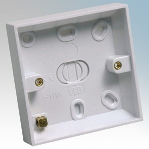 CED BP116 White Moulded 1 Gang Surface Mounting Box With Earth Terminal & Knockouts 16mm