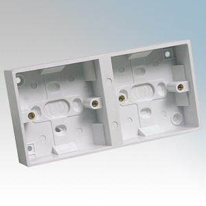 CED PB232D White Moulded 2x1 Gang Dual Surface Mounting Box With Knockouts 32mm