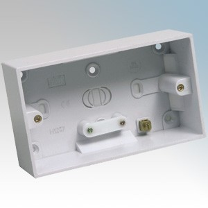 CED PB245 White Moulded 2 Gang Surface Mounting Box With Knockouts 45mm