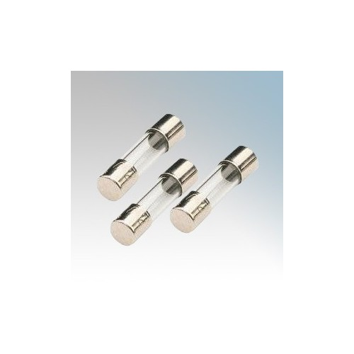 Lawson PDC8AS IEC127 Slow Acting Miniature Glass Electronic Fuse With Plated Brass End Caps 8A 250V ac L:20mm x Dia Ø: 5mm