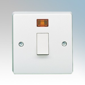 Crabtree 4015/3 Capital White Moulded Double Pole Switch With Neon 20A