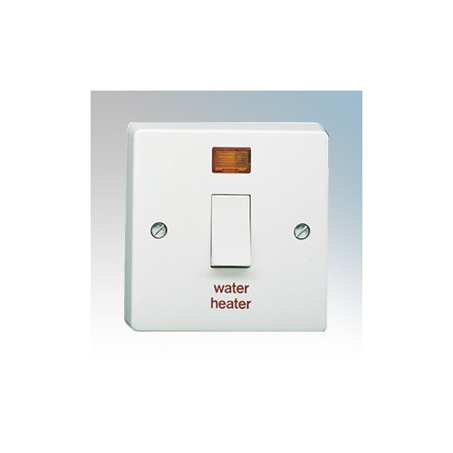 Crabtree 4015/31 Capital White Moulded Double Pole Switch With Neon Marked WATER HEATER 20A