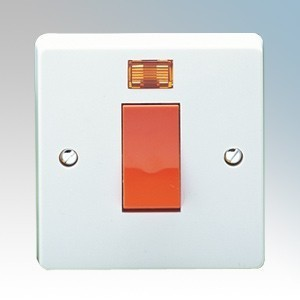 Crabtree 4016/3 Capital White Moulded Double Pole Switch With Neon 45A