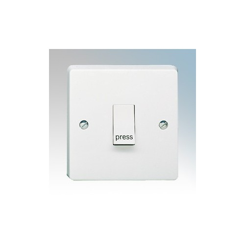 Crabtree 4096/P Capital White Moulded 1 Gang 2 Way Single Pole Retractive Plateswitch Marked 'Press' 10A