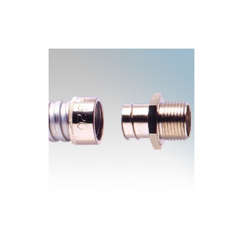Adaptaflex S20/M20/A Nickel Plated Brass Type A Straight Fitting Fixed External Thread For Type S Flexible Conduit IP40 M20 20mm