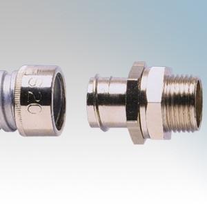 Adaptaflex S20/M20/B Nickel Plated Brass Type B Straight Fitting Swivel External Thread For Type S Flexible Conduit IP40 M20 20mm
