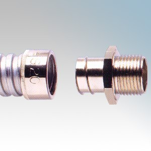 Adaptaflex S25/M25/A Nickel Plated Brass Type A Straight Fitting Fixed External Thread For Type S Flexible Conduit IP40 M25 25mm