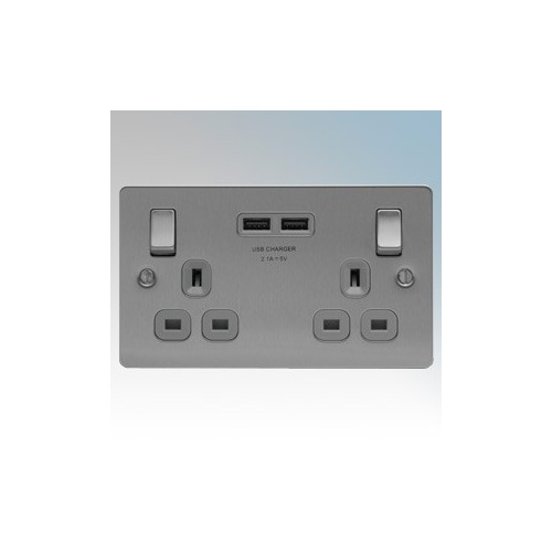 BG Electrical SBS22UG3 Nexus Brushed Steel Screwed Flat Plate 2 Gang DP Switchsocket With 2 x USB Ports 3.1A & Outboard Rocker 13A