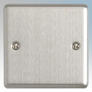 BG Electrical SBS94 Nexus Brushed Steel Screwed Flat Plate 1 Gang Blank Plate