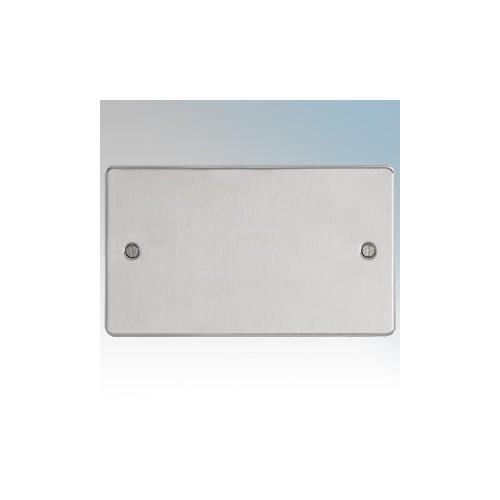BG Electrical SBS95 Nexus Brushed Steel Screwed Flat Plate 2 Gang Blank Plate